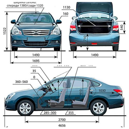 Размеры Nissan Almera G15