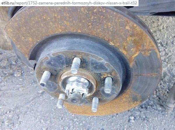 Меняем диск передних тормозов Nissan X-Trail t32