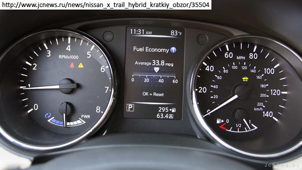 дисплей на приборной панели Nissan X-Trail hybrid
