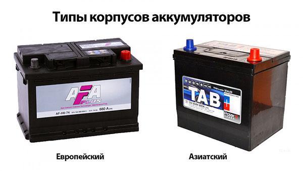типы корпуса аккумуляторов