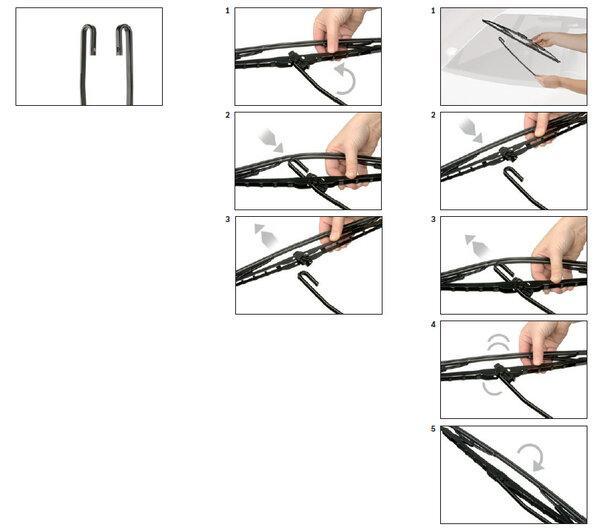 Замена стеклоочистителей с креплением Крючок