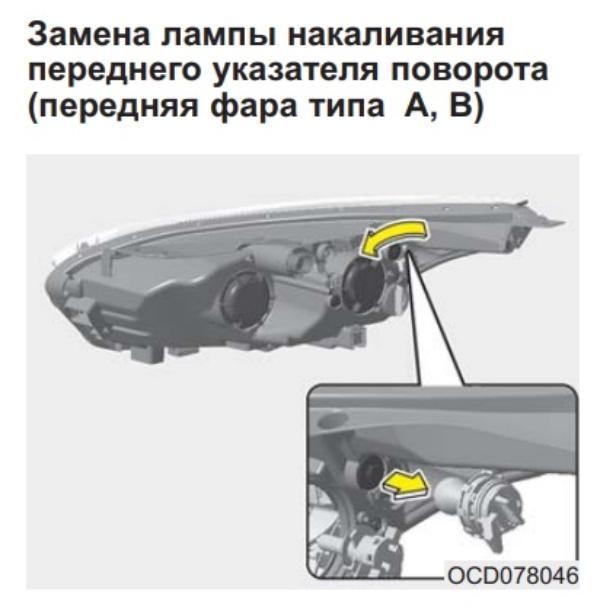 Меняем лампочки поворотников в передней блок фаре на Kia Ceed III