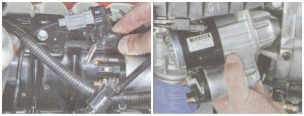 Снимаем оставшиеся провода и стартер