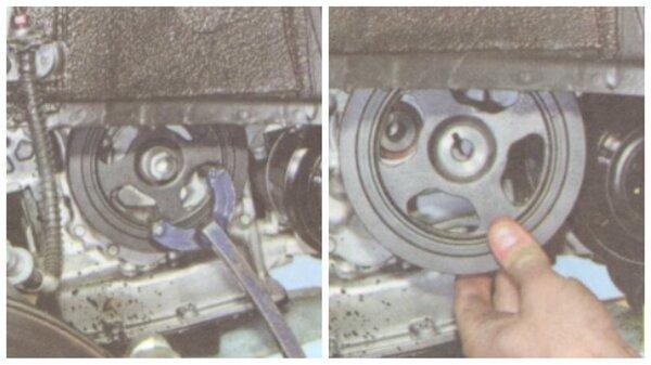 Демонтаж шкива коленвала и генератора