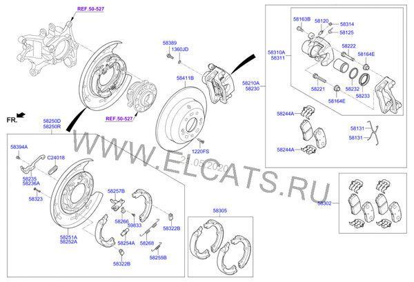 Схема задних тормозов