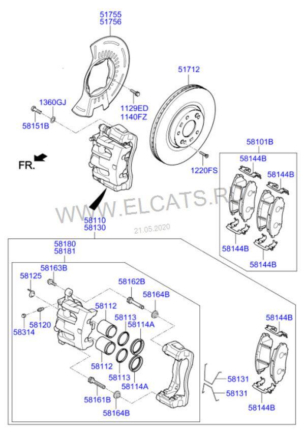 Схема передних тормозов